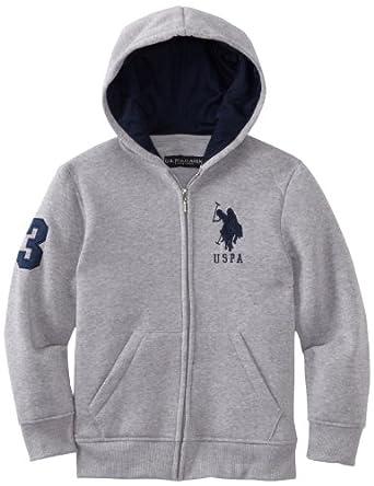U.S. Polo Assn. Big Boys' Solid Fleece Hoodie, Light Heather Grey, 10-12