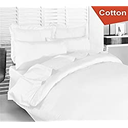 Cotton Sateen Queen Duvet-Cover-Set White - Premium Quality Combed Cotton Long Staple Fiber - Breathable, Cozy & Comfortable - Hotel Quality Exceptionally Durable - By Utopia Bedding (Queen, White)