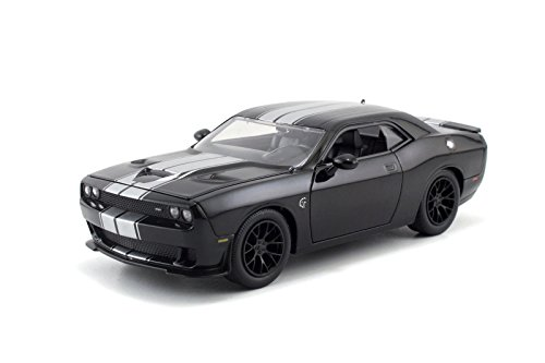 2015 Dodge Challenger SRT Hellcat Black with Silver Stripes 1/24 by Jada 97600 (Dodge Challenger Srt Diecast compare prices)