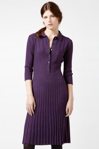 Long Sleeve Merino Wool Variegated Rib Sweater Dress