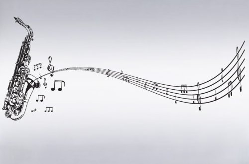 Vinyl Wall Art Decal Sticker Saxophone with Music Notes, Big Sax #326