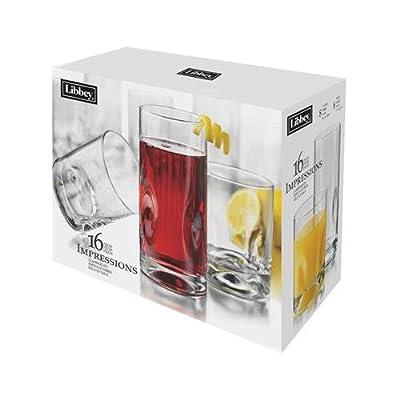 Libbey Glass 1786426 Crisa Impressions Glass Tumblers, 16-Piece Set