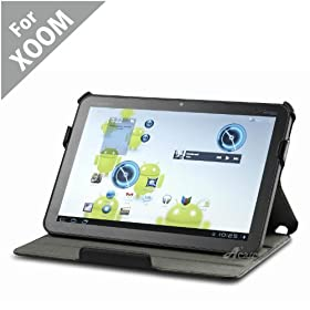 Acase Slim Leather Folio Case with Built-in Stand for Motorola Xoom (Black)