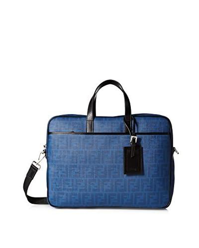 Fendi Men's Zucca Coated Briefcase, Blue