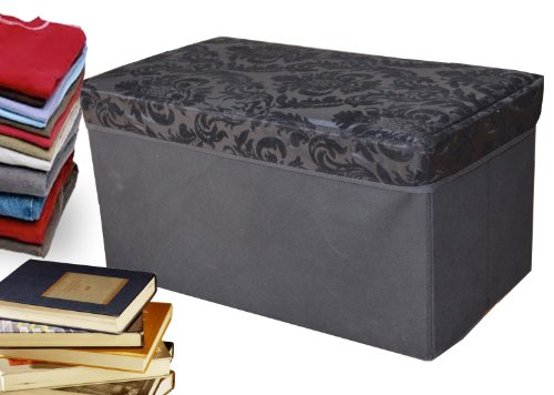 Collapsible Storage Ottoman, Rectangle Shape (Solid Black Baroque)