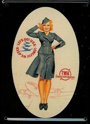 aviazione-mini-targa-in-lamiera-cartolina-twa-stewardess-8-x-11-cm-nostalgia-retro-scudo-metal-tin-s