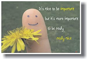 It's Nice to Be Important but It's More Important to Be Really Really Nice - Classroom Motivational Poster
