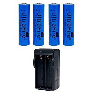 Skytower New Ultrafire 4 x 18650 4900mah 3.7v Lithium Li-ion Torch Rechargeable Battery Digital & Dual Digital Battery Smart Charger & UK Plug Converter