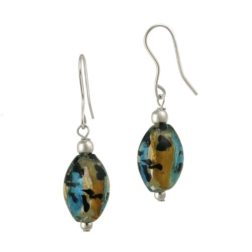 Sterling Silver Multi-Hand Blown Glass Oval Drop French Wire Earrings