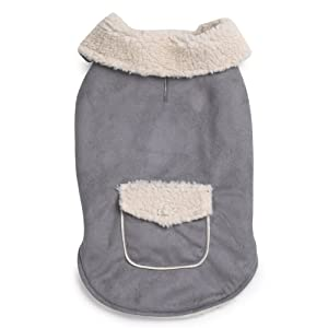 Zack & Zoey 20-Inch Classic Sherpa Dog Jacket, Large, Gray