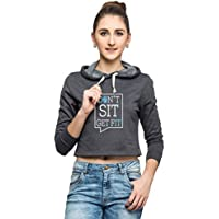 Campus Sutra Women Crop Hoodie-Charcoal (AW15_HCR_W_SIT_CH_S)
