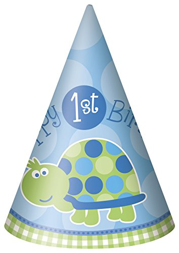 Turtle First Birthday Party Hats, 8ct - 1