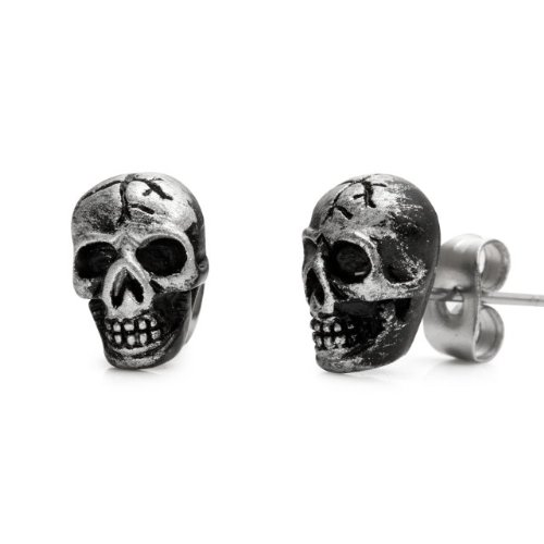 Vintage Biker Style Skulls Stainless Steel Stud Earrings for Men