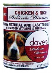 Dave's Natural Canned Dog Food, Delicate Dinners, Easy to Digest, Chicken & Rice, Wheat & Wheat Gluten Free (Pack 12x13oz)