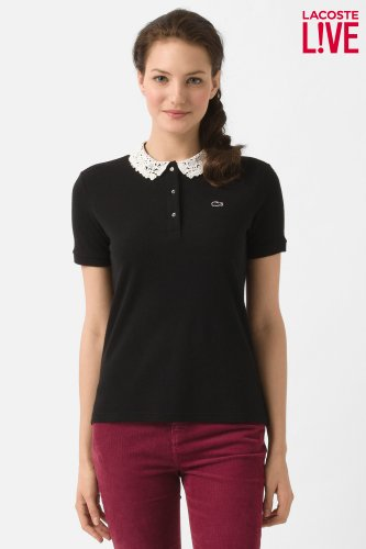 L!VE Short Sleeve Lace Collar Pique Polo