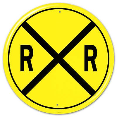 Railroad Crossing RR X-ing Round Tin Sign