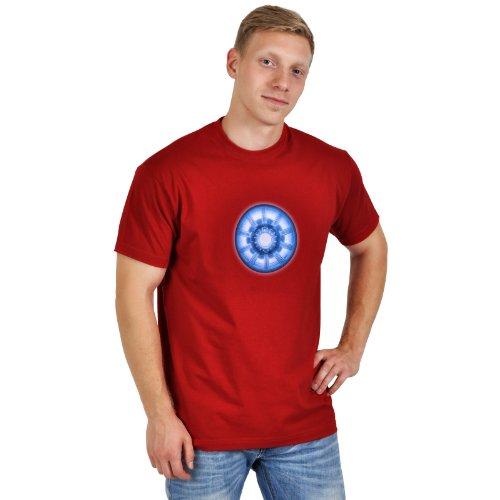 Iron Man - T shirt stampa con motivo del reattore - Maglia con stampa - Girocollo - Rosso - XXL