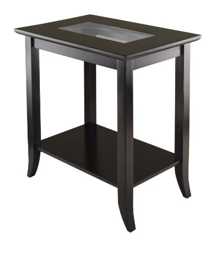 Winsome Genoa Rectangular End Table with Glass Top And Shelf (Rectangle End Table compare prices)