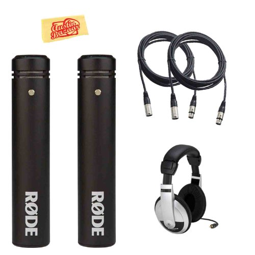 Rode M5 Matched Pair Of Compact 1/2-Inch Condenser Microphones Bundle With Headphones, 2 Mic Cables, 2 Mic Clips, 2 Windscreens, And Polishing Cloth