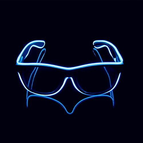 Lerway EL Neon Ray Ban LED Light Glasses for Club Bar Party Outdoor Game Dance Props Tool (Blue, Black Frame)