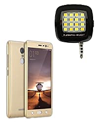 YGS iPAKY All-round Protective Slim Fit Case Cover Front and Back with Tempered Glass Screen Protector For Xiaomi RedMi Note3 -Gold With Photo Enhancing Flash Light