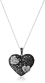 10k White Gold Black and White Heart…