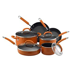 Rachael Ray Porcelain Enamel Nonstick 10-Piece Cookware Set, Orange