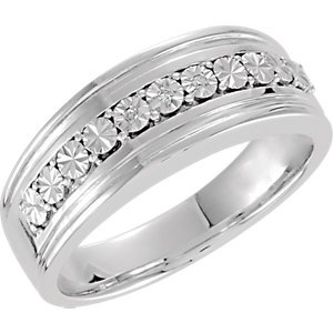 Genuine IceCarats Designer Jewelry Gift Sterling Silver Wedding Band Ring. Size 10.00 .015 Ctw Diamond Gents Band In Sterling Silver Size 10.00