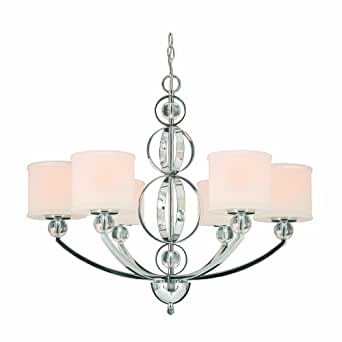 Golden Lighting 1030-6 CH Cerchi Six Light Chandelier, Chrome Finish