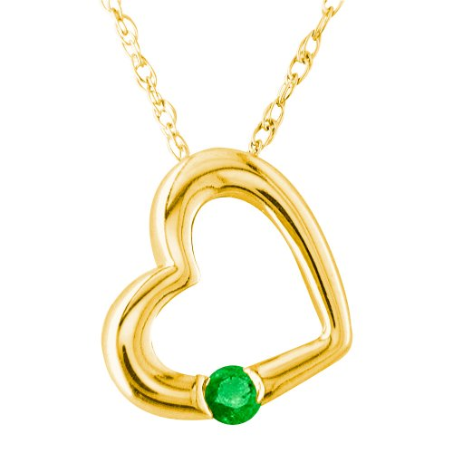 14k Yellow Gold Emerald Heart Pendant