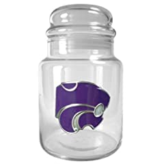 NCAA Kansas Jayhawks 31-Ounce Glass Candy Jar with Primary Logo by Great American Products