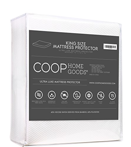 Ultra Luxe Bamboo derived Viscose Rayon Mattress Pad Protector Cover by Coop Home Goods - Cooling Waterproof Hypoallergenic Topper - King - White (Cooling Mattress Topper compare prices)