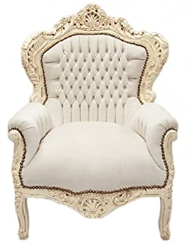 Casa Padrino Baroque Armchair 'King' Cream / cream Velvet - furniture antique style