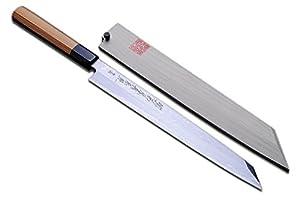 Yoshihiro Blue Steel #1 Damascus Yanagi Kiritsuke Sashimi Knife 10.5 in (270mm) Yew Handle