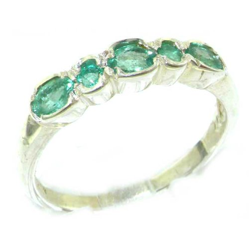 Luxury Solid English Sterling Silver Ladies Natural Emerald Contemporary Style Eternity Band Ring - Size 6.25 - Finger Sizes 5 to 12 Available