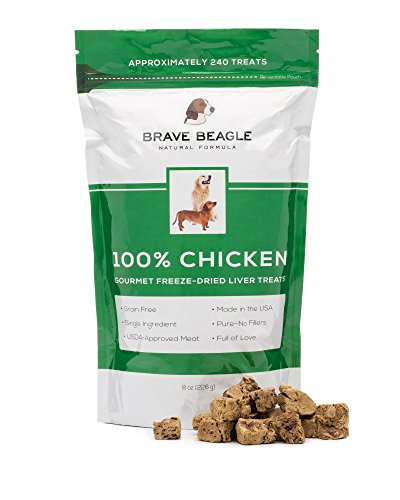 Chicken Dog Treats Made in USA by Brave Beagle - Grain Free USDA Liver Meat - BIG BAG For Training or Snacks - Approx 240 Single Ingredient Gourmet Freeze Dried Bites! (Dehydrated Beef Lung compare prices)