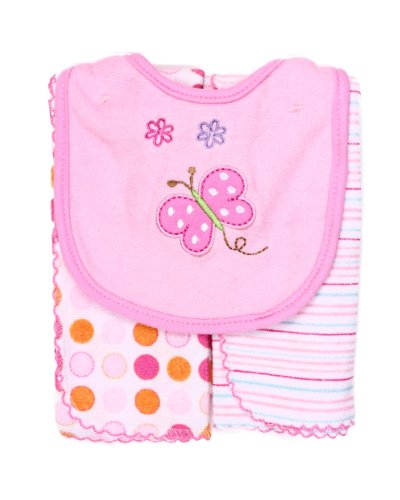 Spasilk Baby-Girls Newborn Set Of Bib And Two Burpcloths, Pink Butterfly, Regular
