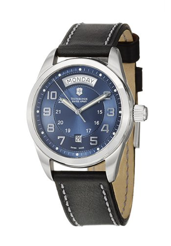 Victorinox Swiss Army Unisex Automatic Watch with Blue Dial Analogue Display and Blue Leather Strap 241074