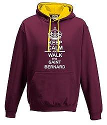 Keep Calm And Walk The Saint Bernard Dog Contrast Hooded Sweatshirt In Burgundy/Gold & White Motif