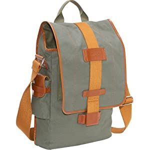 Nuo Tech  Vertical Canvas Messenger Bag-Color: Olive
