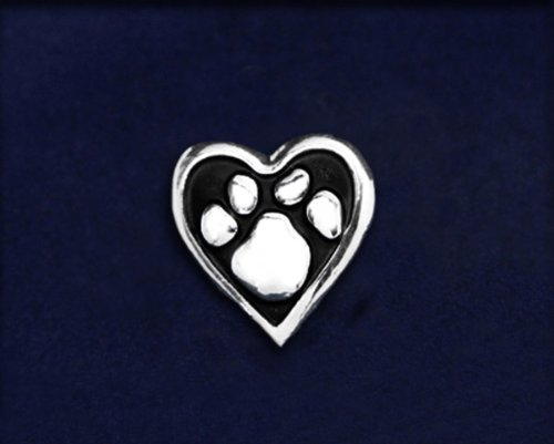Animal Causes Pin - Paw Print Heart Tac Pin (50 Pins)