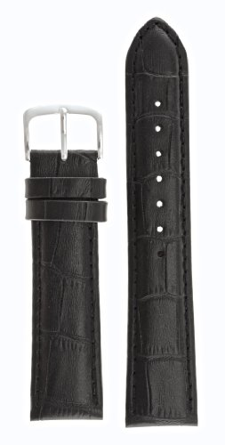 Mens Alligator Grain Watchband Natural Matte Finish Black 24mm - by JP Leatherworks