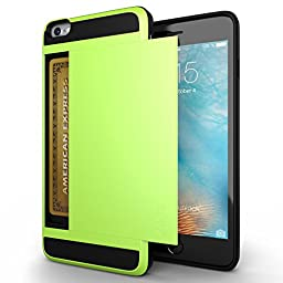 iPhone 6 Case, Zeox(TM) Shock Resistant [Pocket Wallet] Cover iPhone 6 Card Slot Case Protective Shell - Flexible Shockproof Rubber Bumper Frame Case with Anti-scratch Hard PC Back Cover Skin- Credit Card Wallet Case for Apple iPhone 6 4.7 Inch - Green