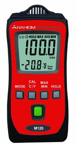Anaheim Scientific M120 Mini Temperature/ Humidity Meter with Dew-Point and Wet-Bulb Measurements by Global Specialties