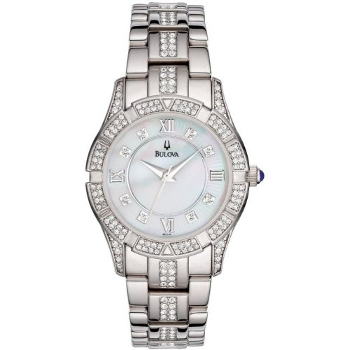 Bulova 96L116 Ladies Crystal White Steel Watch