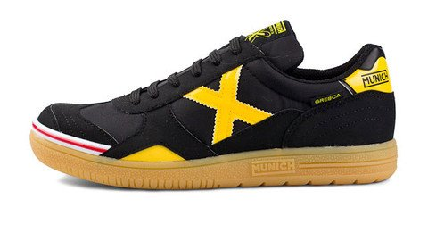 3c214888de3 MUNICH - Gresca 606 - Indoor Soccer / Futsal Shoe - Black/Yellow - 8.5