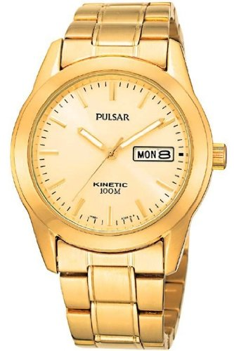 Gents/Mens Pulsar Kinetic Gold Plated Bracelet Watch with Day & Date. 100M Water Resistant. PD2024X1