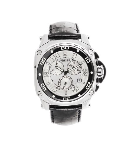 Régnier Variya R127 Men's Chronograph Black Leather Strap Watch 2040122