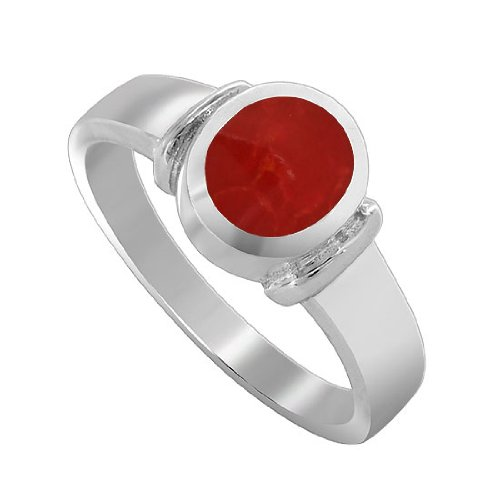 Sterling Silver 8mm x 6mm Simulated Coral Oval 3mm Band Ring