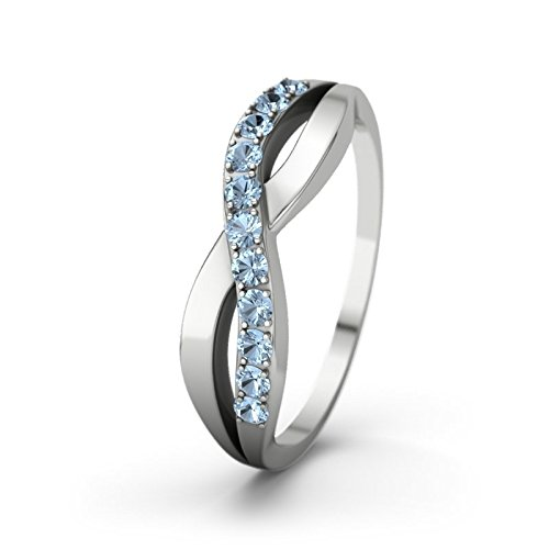 21DIAMONDS Women's Ring Brookelyn Engagement Ring Brilliant Cut Blue Topaz 14 carat (585) White Gold Engagement Ring